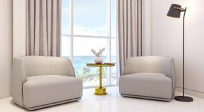 Belle conception moderne de pièce d'appartement illustration de vecteur