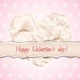 Belle conception pour la carte de voeux de Saint-Valentin avec chiffonné Photographie stock libre de droits