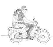 Belle coppie alla moda nell'amore che guida una motocicletta, ciclomotore royalty illustrazione gratis