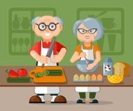 Belle coppie anziane della famiglia in grembiuli che cucinano insieme la prima colazione fresca sana di mattina nella cucina illustrazione vettoriale