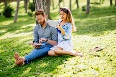 Belle coppie che studiano insieme per gli esami Immagini Stock