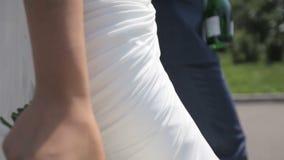 Belle coppie delle persone appena sposate che camminano nel parco stock footage
