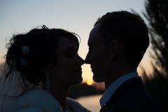 Belle coppie di nozze alle siluette di tramonto Fotografie Stock