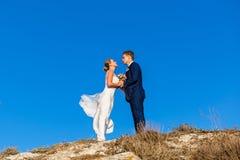 Belle coppie di nozze che stanno su una collina Fotografia Stock Libera da Diritti