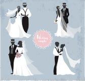 Belle coppie di nozze in siluetta Fotografie Stock Libere da Diritti