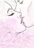 Belle coppie di vettore gli amanti che baciano tenero royalty illustrazione gratis