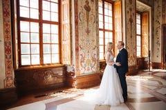 Belle coppie nel supporto del vestito da sposa in museo Guardano l'un l'altro immagini stock