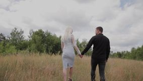Belle coppie nell'amore che cammina nel tenersi per mano del campo video d archivio