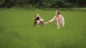 Belle coppie nell'amore in vestiti ucraini tradizionali che camminano e che si tengono per mano al campo verde video d archivio