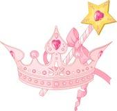 Corona di principessa e bacchetta di magia Immagini Stock Libere da Diritti