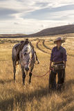 Belle cow-girl avec le cheval image stock