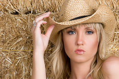 Belle cow-girl blonde photographie stock