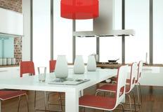 Belle cuisine moderne avec une table résonnante et des chaises Photographie stock