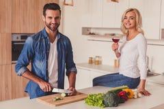 Belle cuisson de couples Images libres de droits