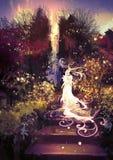 Belle déesse vers le haut des escaliers illustration libre de droits