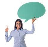 Belle dame d'affaires avec la bulle de la parole Photographie stock libre de droits