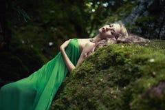 Belle dame dans la forêt conifére photos libres de droits