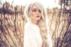 Belle dame dans le paysage d'automne Photographie stock