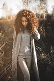Belle dame de mode dans le paysage d'automne Photos stock