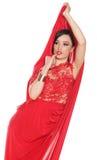 Belle dame séduisante dans la robe rouge Photo stock