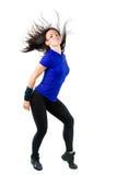 Belle danse de femme, ondulant son long cheveu photos stock