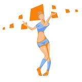 Belle danse de fille dans le rythme moderne sur un backgroun abstrait illustration de vecteur