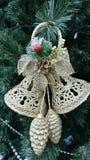 Belle decorazioni di Natale, campane dorate Immagini Stock