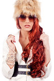 Belle donne cape rosse di modo Fotografia Stock Libera da Diritti