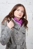 Belle donne in cappotto grigio fotografia stock