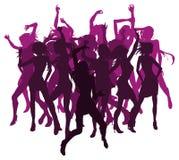 Belle donne che ballano le siluette Immagini Stock Libere da Diritti