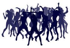 Belle donne che ballano le siluette Fotografie Stock