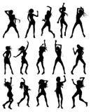 Belle donne che ballano le siluette Fotografia Stock Libera da Diritti