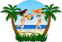 Belle donne che giocano con un beach ball Royalty Illustrazione gratis