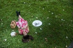 Belle donne che guardano gli smartphones sull'erba fotografia stock libera da diritti