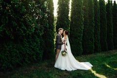 Belle e giovani coppie che stanno insieme vicino al cespuglio verde Immagine Stock Libera da Diritti