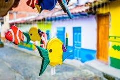 Belle e vie variopinte in Guatape, conosciuto Fotografia Stock