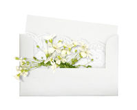 Belle enveloppe avec des fleurs Images stock