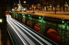 Barcelone la nuit Photographie stock libre de droits