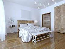 Belle et moderne chambre à coucher de maison et d'hôtel Images stock