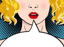 Belle et sexy fille blonde étonnée d'art de bruit avec la bouche ouverte illustration libre de droits
