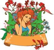 Belle fée parmi des fleurs Image libre de droits