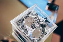 Belle fedi nuziali dorate dentro una scatola di vetro d'annata Immagine Stock Libera da Diritti