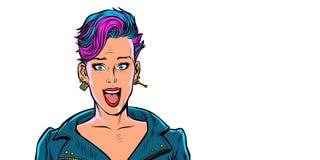 Belle femme étonnée avec la coupe de cheveux à la mode courte Isolat illustration de vecteur