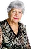 Belle femme aînée d'isolement sur le blanc photos libres de droits
