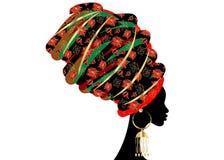 Belle femme africaine de portrait dans le turban traditionnel, enveloppe de tête de Kente africaine, impression traditionnelle de Images libres de droits