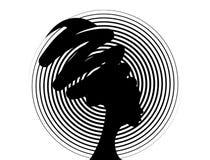 Belle femme africaine de portrait dans le turban traditionnel, silhouette de femmes de couleur d'isolement, concept de coiffure illustration libre de droits