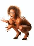 Belle femme afro-américaine de chat Images libres de droits