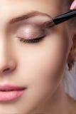 Belle femme appliquant le fard à paupières brun utilisant la brosse de maquillage Maquillage pour des yeux bleus Photographie stock libre de droits