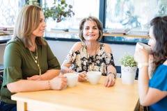 Belle femme au café avec des amis Images stock
