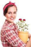 Belle femme au foyer heureuse Images libres de droits